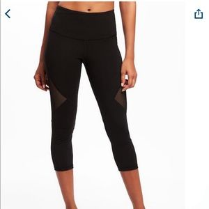 High- Wasted Mesh-Panel Elevate Compression Crops